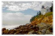 Puffy Digital Art Posters - Bass Harbor Head Lighthouse Poster by Mike McGlothlen