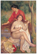 Woman Bathing Framed Prints - Bather and Maid Framed Print by Pierre-Auguste Renoir