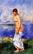 French Painter Posters - Bather Poster by Pierre-Auguste Renoir