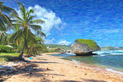 Seashore Digital Art Metal Prints - Bathsheba Beach in Barbados Metal Print by Verena Matthew