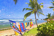 Beach Towel Digital Art Posters - Bathsheba Beach Towels in Barbados Poster by Verena Matthew