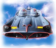 Bat Mobile Framed Prints - Batmobile Airborne Framed Print by Allen Beatty