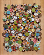 Textile Collage Posters - Baubles Poster by Marci Cheary