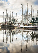 Reflections Of Sky In Water Prints - Bayou LaBatre AL Shrimp Boat Reflections Print by Jay Blackburn