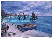 Monet Drawings Posters - Beach at Saint Address Poster by Eric  Schiabor