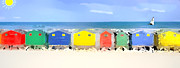 Sheds Digital Art Prints - Beach Huts Print by Ian Jeffrey