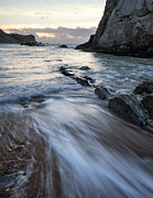Beach Sunrise Landscape With Long Exposure Waves Movement Print by Matthew Gibson