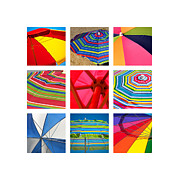 Fabric Collage Prints - Beach Umbrellas Print by Art Block Collections