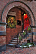 Stone Steps Posters - Beacon Hill Doorways Poster by Joann Vitali