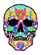 Scull Posters Framed Prints - Beaded Scull Framed Print by Mauro Celotti