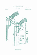 Drawn Prints - Beaumont Revolver Patent Print by Nomad Art And  Design