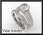 14k Jewelry - Beautiful Moissanite And Diamond 14k White Gold Wedding Ring Set by Roi Avidar