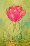 Red Rose Pastels - Beautiful Rose by Denise Fulmer