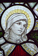 Saint Hope Prints - Beautiful stained glass window detail in 15th Century Saxon chur Print by Matthew Gibson