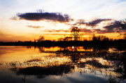 Mirror Digital Art Prints - Beautiful sunset reflecting in a lake Print by Jaroslaw Grudzinski