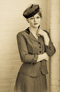 Forties Posters - Beautiful woman in vintage forties clothing Poster by Diane Diederich