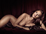 Long Bed Prints - Beautiful Young Woman Lying Naked in Bed Print by Oleksiy Maksymenko