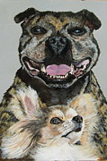 Staffordshire Bull Terrier Paintings - Beauty And The Beast by Alan Wilkinson