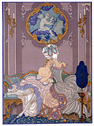 Cat Picture Posters - Bedroom scene Poster by Georges Barbier
