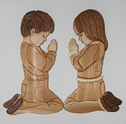 Intarsia Sculpture Posters - Bedtime Prayers Poster by Bill Fugerer