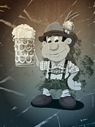 Deutschland Metal Prints - Beer Stein Lederhosen Oktoberfest Cartoon Man Grunge Monochrome Metal Print by Frank Ramspott