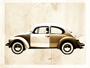 Old Digital Art Prints - Beetle car Print by David Ridley