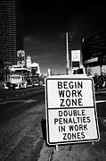 Construction Zone Framed Prints - begin work zone double penalties roadsign on Las Vegas boulevard Nevada USA Framed Print by Joe Fox