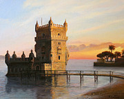 Travel Destinations Paintings - Belem Tower in Lisbon by Kiril Stanchev