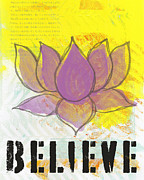 Motivational Mixed Media Prints - Believe Print by Linda Woods