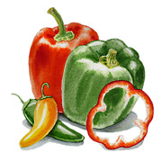 Pepper Painting Metal Prints - Bell Peppers Jalapeno Metal Print by Irina Sztukowski