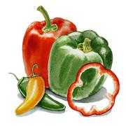Bell Peppers Jalapeno Print by Irina Sztukowski