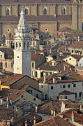 Domes Of Venice Photos - Bell tower of Santa Maria Formosa and red tiled roofs by Sami Sarkis