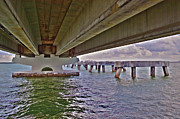 Florida Bridges Prints - Beneath Sanibel Bridge Print by Timothy Lowry