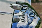 Vintage Hood Ornament Painting Framed Prints - Bentley T Series 1975 badge Framed Print by George Atsametakis