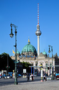 Television Tower Posters - Berlin Cathedral and TV Tower Poster by Michal Bednarek