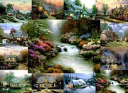 Village By The Sea Painting Prints - Beside Still Waters Print by Thomas Kinkade