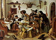 Steen Framed Prints - Beware Of Luxury Framed Print by Jan Steen