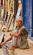 Portrait Of Old Man Framed Prints - Bhaktapur Newari Man Framed Print by Kristin Lau