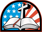 Christian Artwork Digital Art Prints - Bible With Cross American Stars Stripes Print by Aloysius Patrimonio