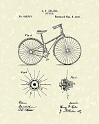 Wheels Drawings Posters - Bicycle 1890 Patent Art Poster by Prior Art Design