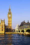 Clock Tower Prints - Big Ben and Westminster bridge Print by Elena Elisseeva