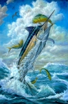 Sportfishing Boat Framed Prints - Big Jump Blue Marlin With Mahi Mahi Framed Print by Terry  Fox