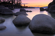 Sand Harbor Prints - Big Rocks At Sunset Print by Marc Crumpler