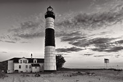 Oats Prints - Big Sable Point Lighthouse in Black and White Print by Sebastian Musial