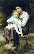 Sisters Framed Prints - Big Sister Framed Print by William Bouguereau