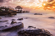 Grey Clouds Photos - Big wave and the rock with sunset sky by Anek Suwannaphoom
