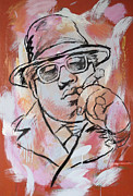 Character Portraits Mixed Media Prints - Biggie Smalls art painting poster Print by Kim Wang