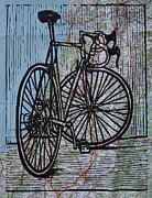 Block Print Drawings Posters - Bike 4 on Map Poster by William Cauthern