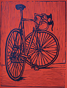 Linoleum Block Print Drawings Posters - Bike 4 Poster by William Cauthern