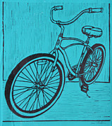 Linoleum Block Print Drawings Posters - Bike 6 Poster by William Cauthern